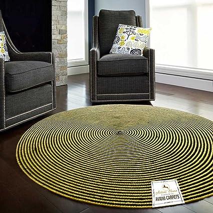 Avioni Dyed Jute Yellow Designer Round Rug-Carpet for Living Room-122 cm (~ 4 feet) Diameter