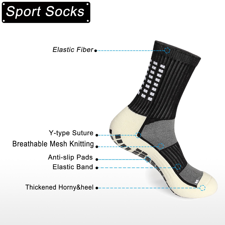 Gogogoal Calcetínes Antideslizantes para Hombre Mujer, Medias Algodon Gruesos, Transpirable Desodorante Calcetines Deporte para Futbol Running ...