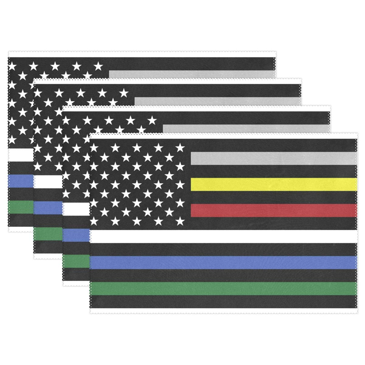 America Flag with Colored Lines Placemats Set of 4 for Kitchen Table Heat Resistant Washable Table Mats