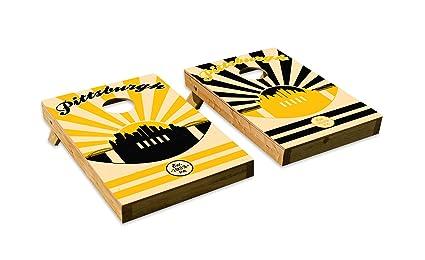 Pittsburgh Steelers Design Cornhole Bean Bag Toss Board Set Made In USA Wood