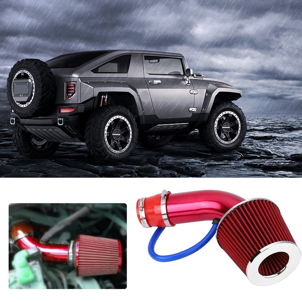 76MM 3 Inch Universal Performance Cold Air Intake Pipe Car Cold Air Intake Turbo Filter Aluminum Automotive Air filter Induction Flow Hose Pipe Kit Red