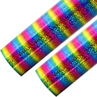 Outuxed 2 Sheets 12 x 20 inches Rainbow Holographic Stripe Heat Transfer Vinyl HTV for T-Shirts