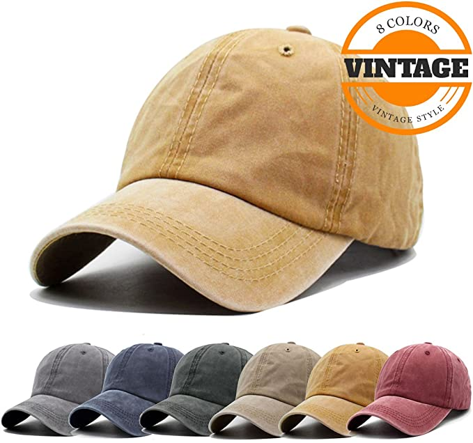 Unisex Vintage Washed Distressed Baseball-Cap Twill Adjustable Dad-Hat  (A-yellow 3abfb9513782