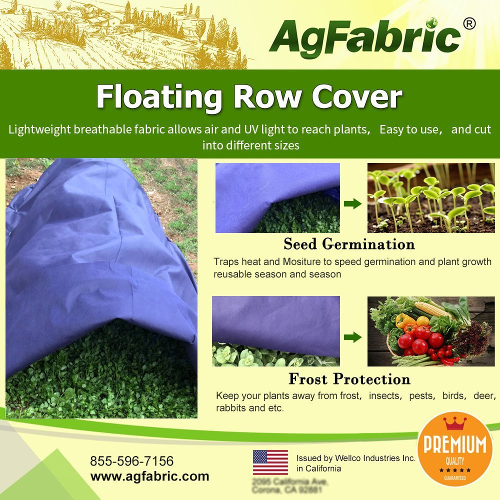 Agfabric Warm Worth Super-Heavy Floating Row Cover & Plant Blanket, 1.5oz Fabric of 10x25ft for Frost Protection & Harsh Weather Resistance, Dark Blue