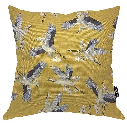 Cubierta de almohada de tiro Grúa Pájaros japoneses ...