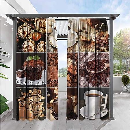 Marilds Cortina para Puerta corredera de Cocina, Granos de café con energía de energía Vieja, oscurecimiento: Amazon.es: Jardín