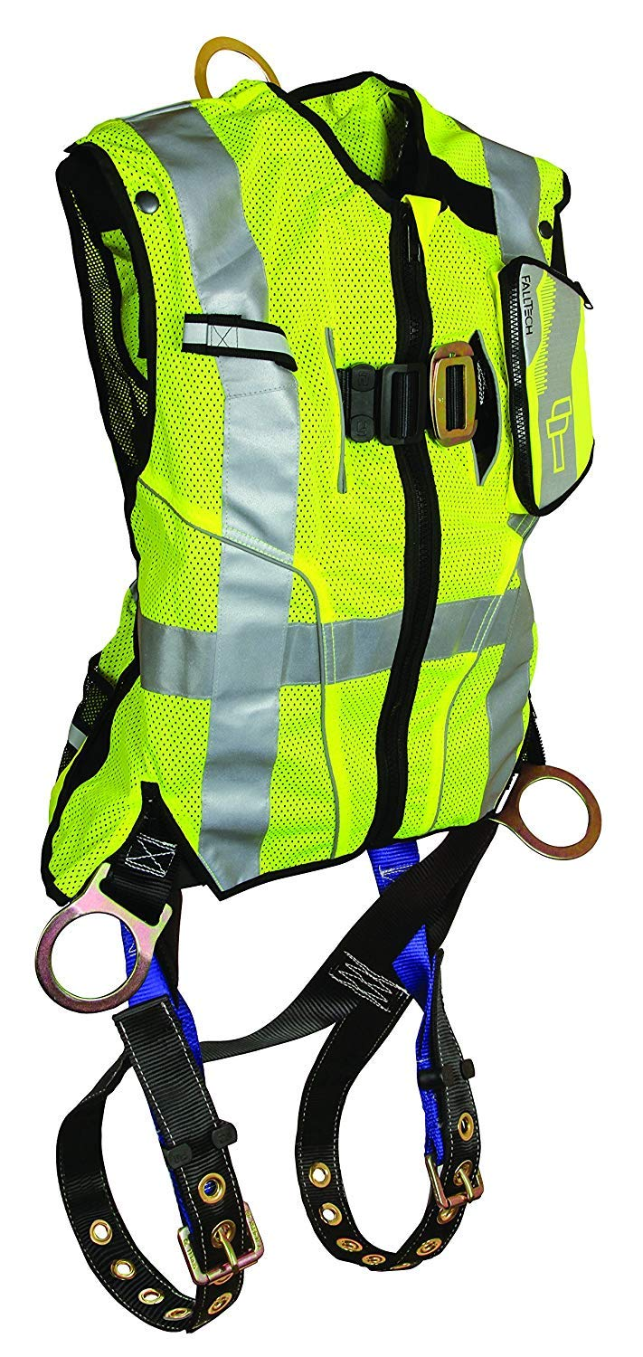 FallTech 7018SML Hi-Vis Vest Harness, Non-Belted FBH - 3 D-Rings, Back and Side, Tongue Buckle Legs and Mating Buckle Chest, Class 2 Vest, Lime, Small/Medium, Lime/Blue by FallTech (Image #1)