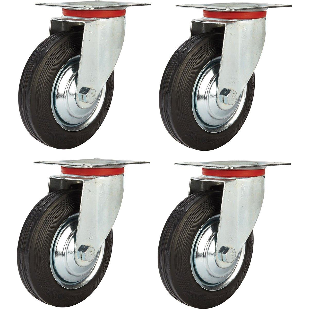 Online Best Service 4 Pack 5'' Swivel Caster Wheels Rubber Base with Top Plate & Bearing Heavy Duty by Online Best Service