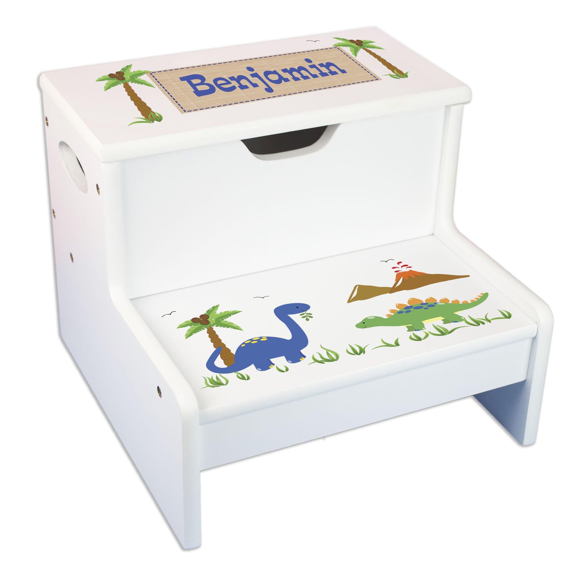 Personalized Dinosaur Storage Step Stool