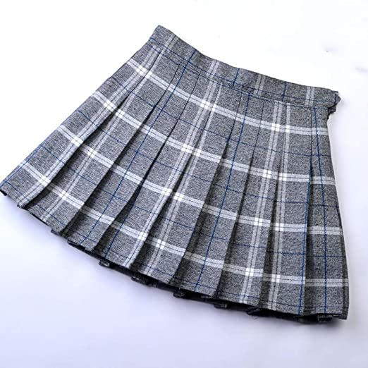 QZBTU Faldas Mujer Falda A Cuadros con Pliegues De Cintura Pequeña ...