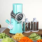 Manual Hand Speedy Mandoline Slicer,3 Round Stainless Steel Blades with Strong-Hold Suction Cup,Blue
