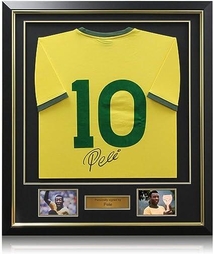 exclusivememorabilia.com Camiseta de fútbol Brasil número Diez firmada por Pelé. Enmarcado: Amazon.es: Deportes y aire libre
