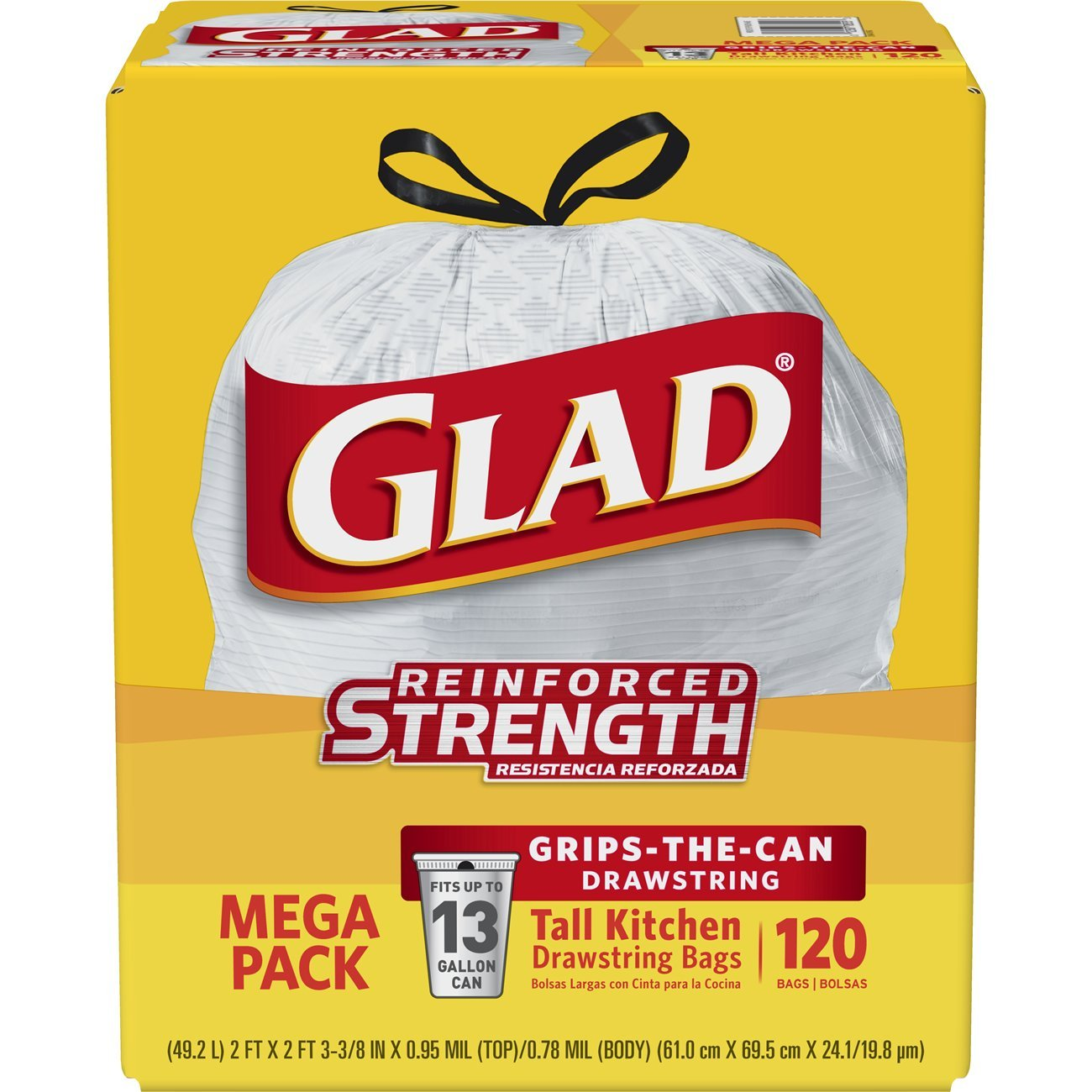 Glad Tall Kitchen Drawstring Trash Bags - 13 Gallon White Trash Bag - 120 Count by Glad