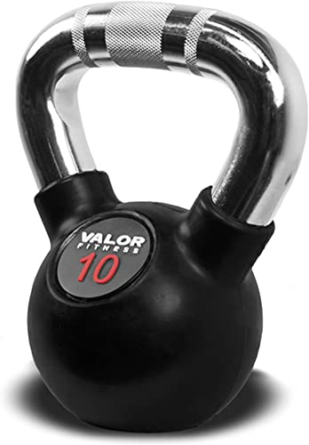 Valor Fitness CKB Rubber Coated Kettlebell Weights with Knurled Chrome Handles for Cross Training and Strength and Conditioning, Raised Red Number to Easily Identify Pound Weight