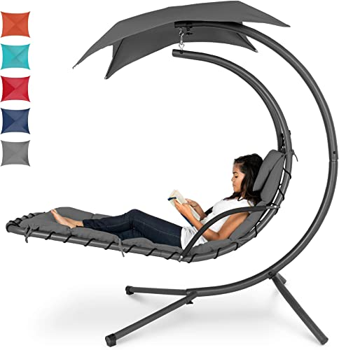 Choice Products Outdoor Hanging Curved Steel Chaise Lounge Chair Swing w/Built-in Pillow and Removable Canopy