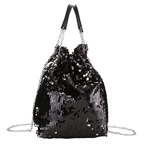 Women Reversible Sequin Purses and Handbags Paillette Drawstring Chain  Strap Crossbody Bag(Black) 04013ca2a35c