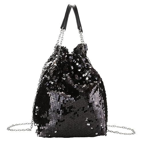 CHIC DIARY Women Bucket Bag Reversible Mermaid Sequin Handbag Drawstring  Chain Crossbody Bag 02683af586