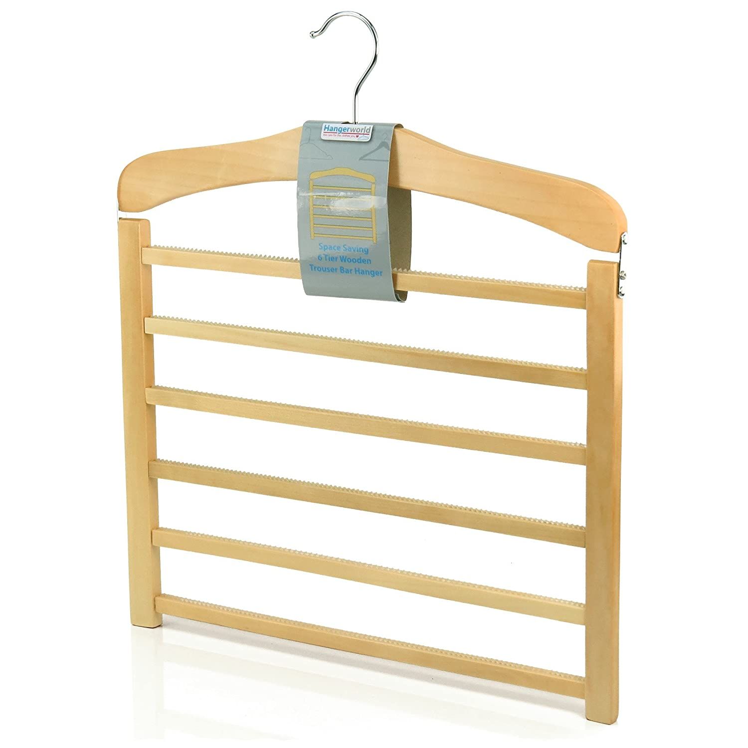 Hangerworld Premium Quality 6 Tier Wooden Trouser Bar Clothes Hanger - Holds 6 Pairs of Trousers (Single Item) WH-6TIER-NAT_1