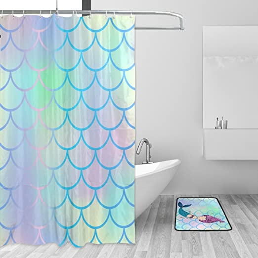 Waterproof Fabric Colorful Mermaid Fish Scale Shower Curtain Hooks Bathroom Mat