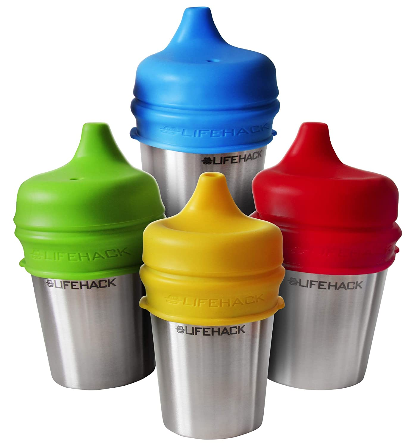 4 Pack 100/% BPA Free Leak Proof Silicone - Makes Any Cup Or Bottle Spill Proof Sippy Cup Lids by MrLifeHack - Perfect for Toddlers /& Babies