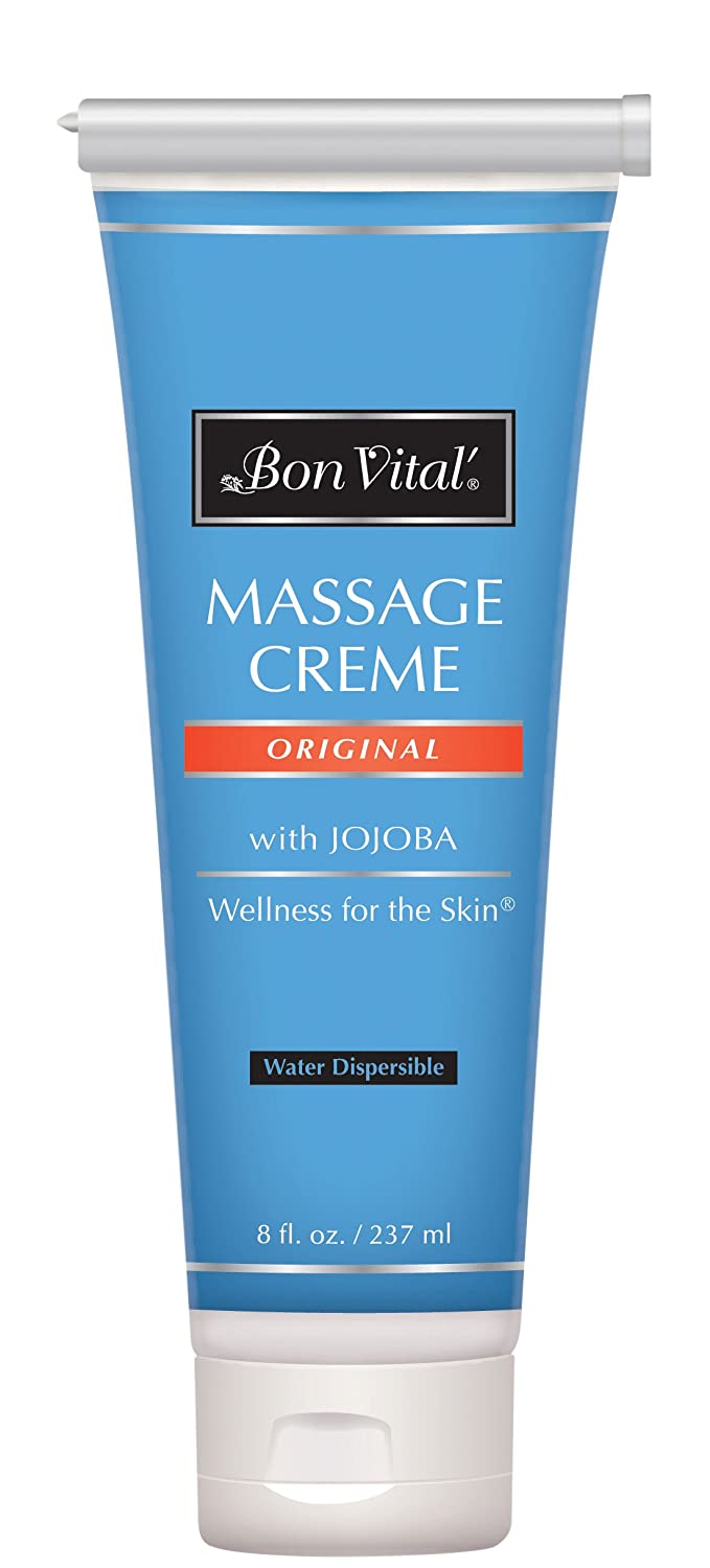 Bon Vital' Original Massage Crème for a Versatile Massage Foundation to Relax Sore Muscles & Repair Dry Skin, Revitalize Skin and Lock in Moisture, Allows for Muscle Manipulation, 8 Ounce Tube