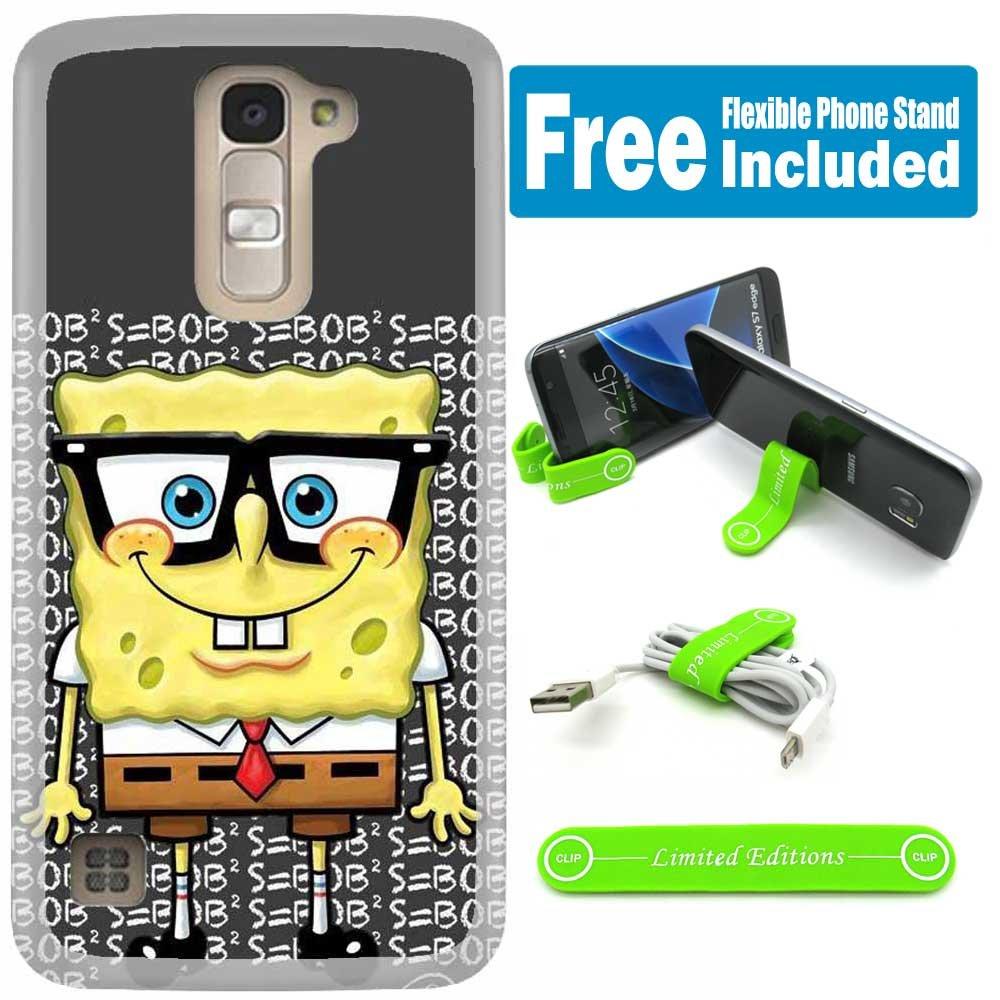 [Ashley Cases] LG G Stylo 2 (LS775) / G Stylo 2 Plus (MS550) Cover Case Skin with Flexible Phone Stand - Spongebob Nerd V