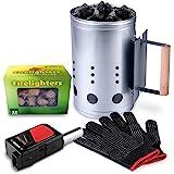 HOMENOTE Rapid Charcoal Chimney Starter Set Fireplace Accessories Lighter Cubes BBQ Heat Resistant Gloves Blower BBQ…