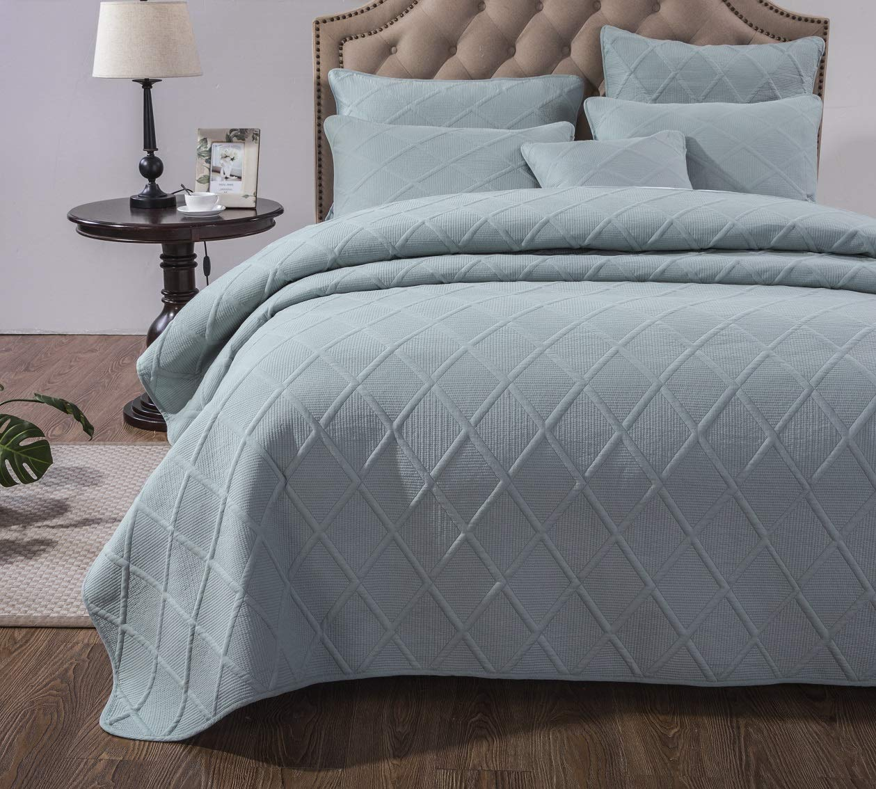 Seafoam Full Tache Rustic Princess Dusty bluesh Pink Soothing Pastel Solid Soft Cotton Geometric Diamond Stitch Pattern Stone Wash Quilted Bedspread Quilt 3 Piece Set, Queen