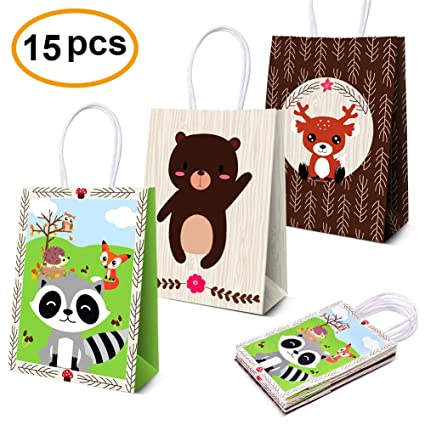 Amazon Woodland Creatures Favor Bags Candy Treat Gift For Kids Forest Friends Themed Birthday Party Supplies 15pcs Toys Games