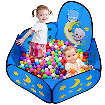 Likorlove Kid Ball Pit with Basketball Hoop 4ft/120cm, 1-6 Years Child Toddler Ball Ocean Pool Tent with Zippered Storage Bag for Boys Girls (No Smell) Healthy Pop Up Play Tent - Moon & Stars: Toys & Games