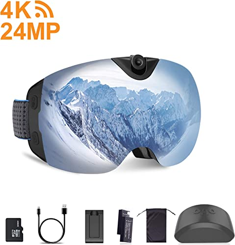 OhO Motorcycle Goggles, 4K WiFi Adjusted Action Camera Goggles UV ATV Off Road Dirt Bike Goggles