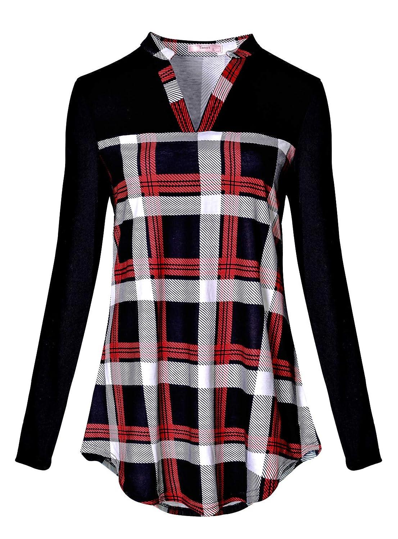 de35500693210 Tanst Women Notch V Neck Casual Plaid Long Sleeve Loose Tunic Blouses Nice  Fashion Plaid