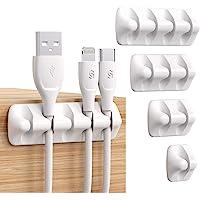 Syncwire Organizador Clip de Cable [5 Unidades] Administrador Mini Soporte de Cable con Ganchos Adhesivos Soporte para…