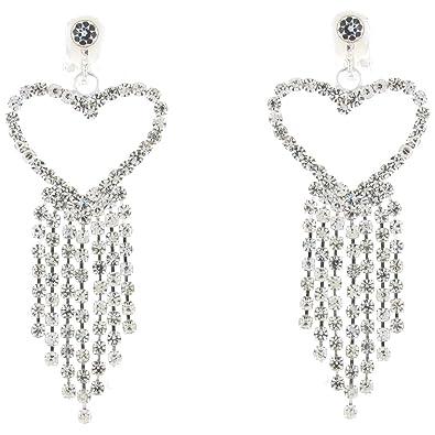 d92886a28 CLIP ON EARRINGS STORE Long Diamante Crystal Love Heart Drop Clip On  Earrings: Clip On Earrings Store: Amazon.co.uk: Jewellery