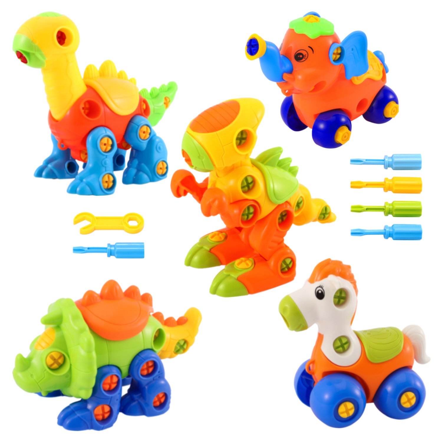 Glonova Dinosaur Toys Take Apart Toys With Tools (Pack of 5, 144 Pcs) - Construction Engineering STEM Learning Toy Building Play Set - Best Toy for Boys & Girls Age 3+ Review