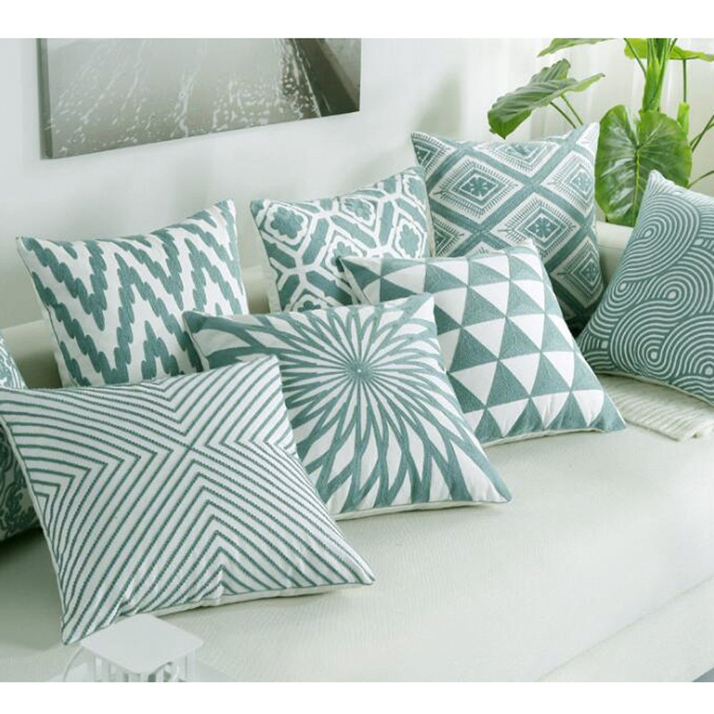WOMHOPE Set of 4 Embroidered Geometric Throw Pillow Covers Cushion Covers Pillow Covers Pillowcase Embroidery Home Decorative 18 x 18 Inch A Grey Set of 4