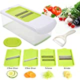 Mandoline Slicer, TAPCET Adjustable Mandoline Vegetable Cutter Grater Chopper Julienne Slicer With 4 Interchangeable Stainless Steel Blades/Peeler/Hand Protector/Storage Container