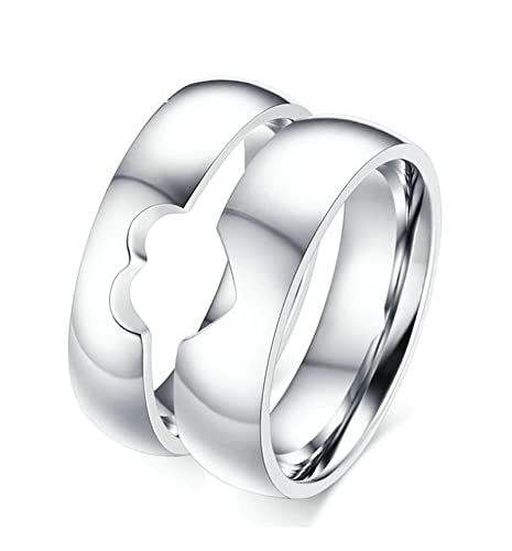 Jiedeng Jewelry Couple Ring Stainless Steel Ring With Heart Puzzle