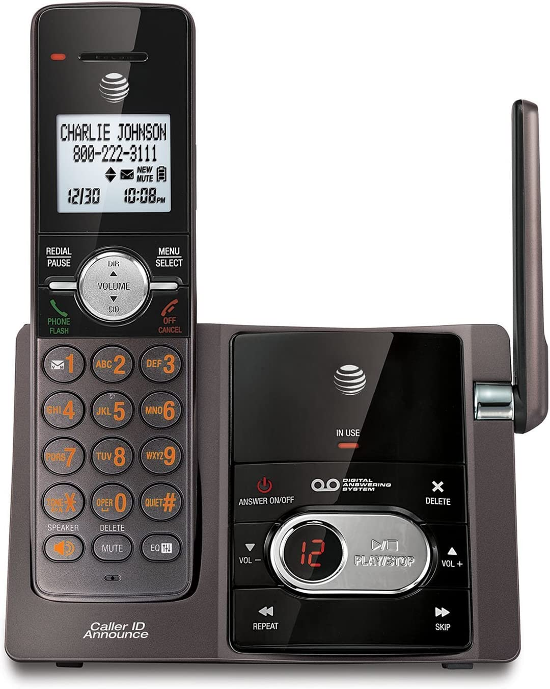 AT&T CL82143 DECT 6.0 Cordless Phone with Digital Answering System and Caller ID, Expandable up to 12 Handsets, Black