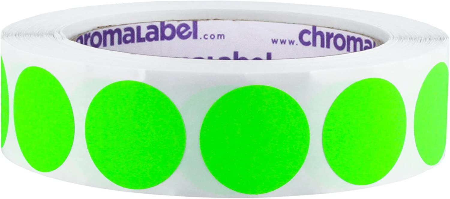 ChromaLabel 1 Inch Round Removable Color-Code Dot Stickers, 1000 per Roll, Fluorescent Green