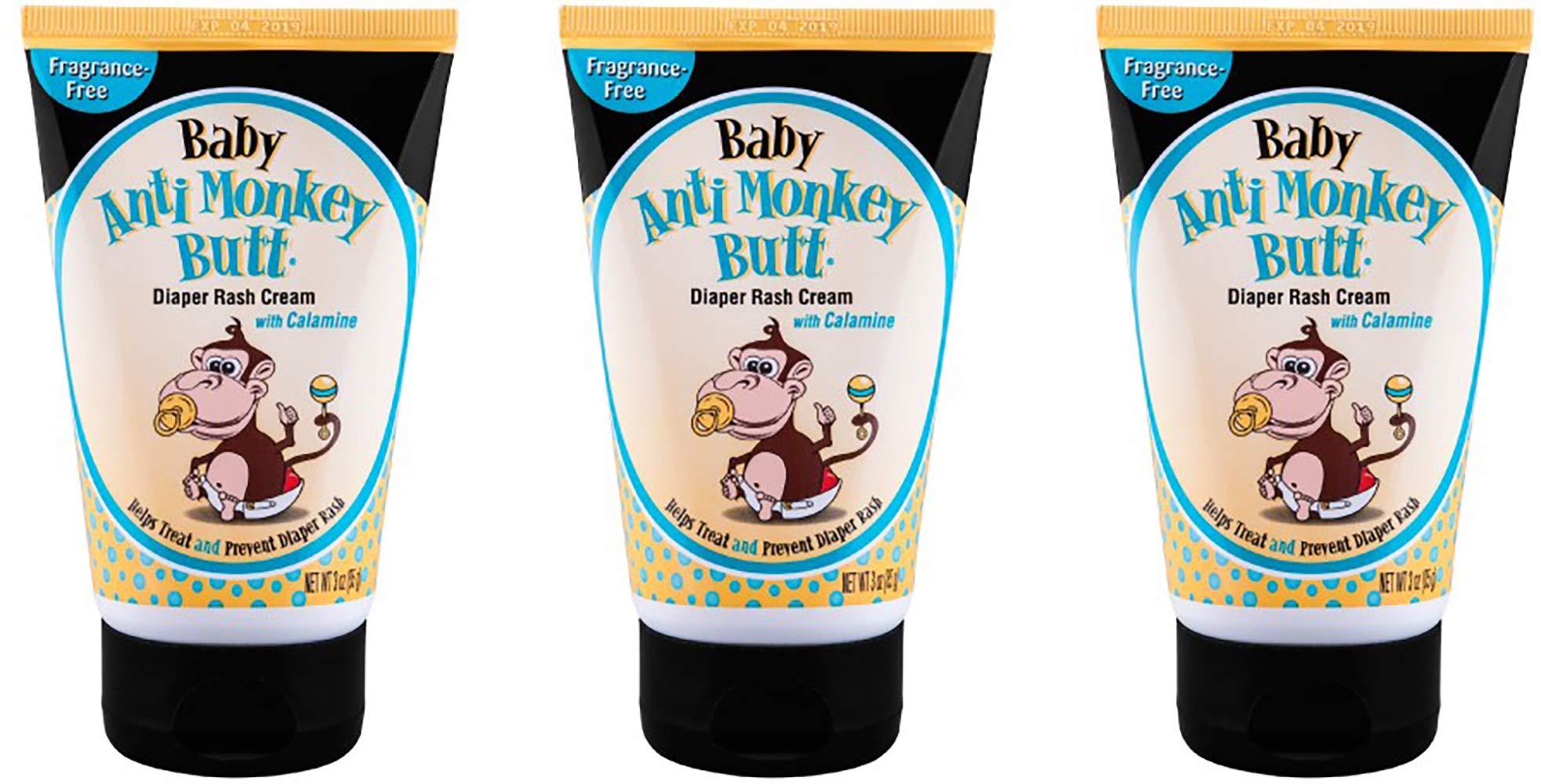 Anti Monkey Butt Baby Diaper Rash Cream | Treats Skin Irritation | Zinc Oxide Cream with Calamine | 3 Ounces | Pack of 3 by Anti Monkey Butt