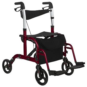 Vive Rollator Wheelchair - Transport Walker Chair - 8 Inch Wheels - Foldable Seat, Lightweight