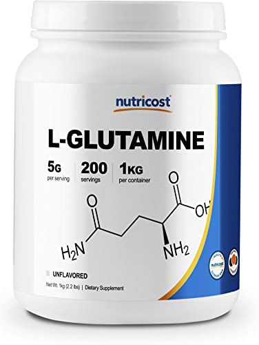 Nutricost L-Glutamine Powder 1 KG – Pure L Glutamine, 5000mg per Serving, Non-GMO, Gluten Free