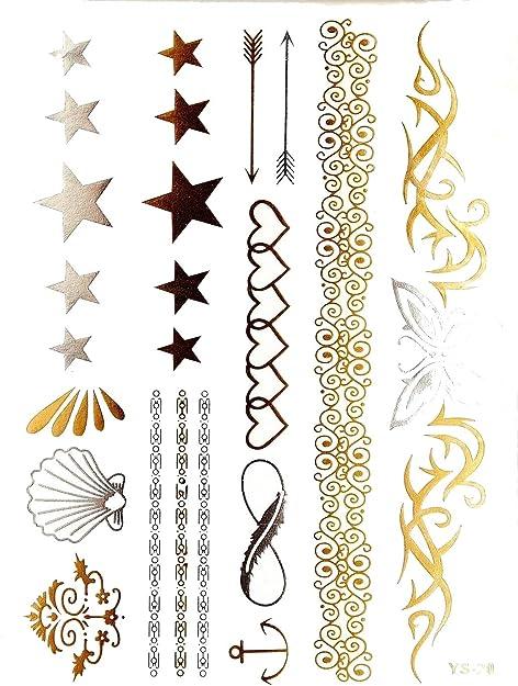 Pedrería y lentejuelas – Tatuajes efímeros metálicos resistentes ...