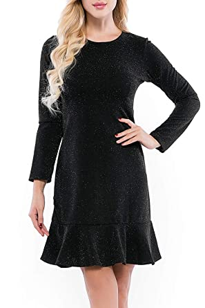 3740e38b25 Incolacolle Womens A Line Dresses Long Sleeve Loose Fit Daily Dress Glitter  Round Neck Casual Midi