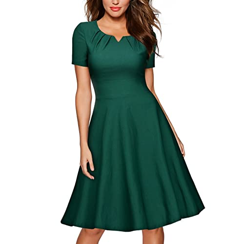 MissMay Womens Retro 1950s Short Sleeve A-Line Cocktail Party Swing Dress