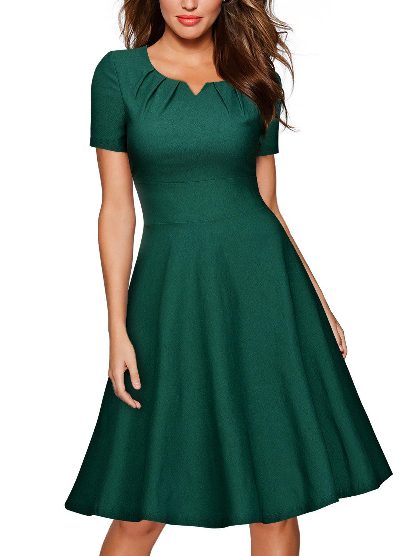MissMay Women's Retro 1950s Short Sleeve A-Line Cocktail Party Swing Dress Green Medium