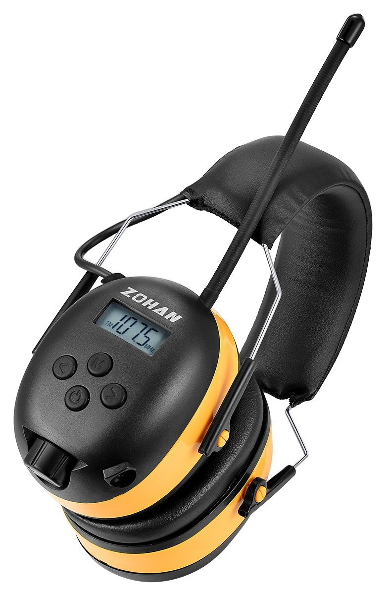 ZOHAN Digital AM/FM/MP3 Radio Earmuff, Noise Reduction Hearing Protector For Mowing, Snowmobiling, Sporting Events (Yellow) by ZOHAN (Image #1)
