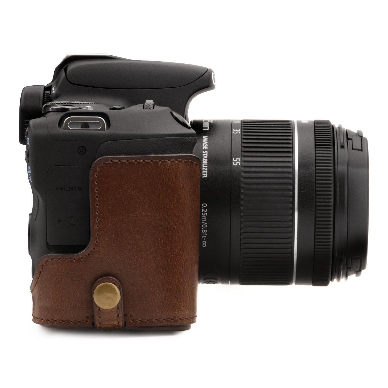 MegaGear Canon EOS 250D 200D 18-55mm Lens Ever Ready /Étui de Protection en Cuir avec Bandouli/ère