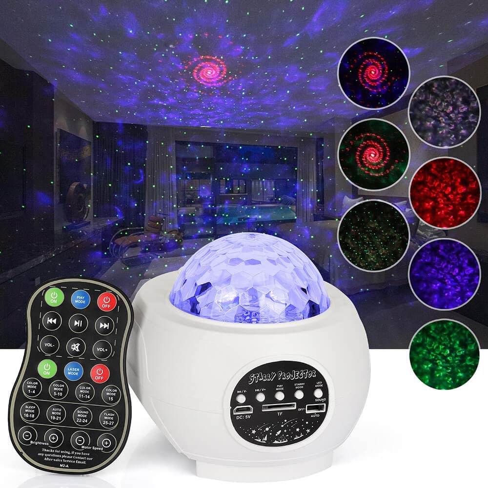 LED Star Projector Night Light, Music Starry Projector Ocean Wave Projector Light Decorative Moon Light with Sound Activated for Kids, Baby, Adults, Bedroom, Holidays(White)